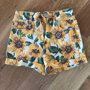 Sunflower Pattern Denim Shorts